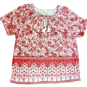 Lucky Brand smocked peasant top red cream large